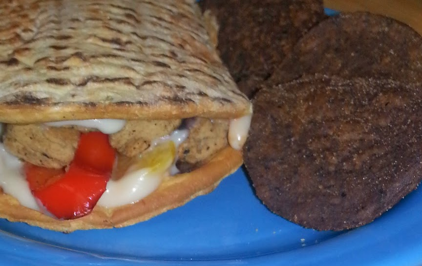 This panini was so simple to make and the Chipotle BBQ Beanitos are like a spicy romance for my taste buds!