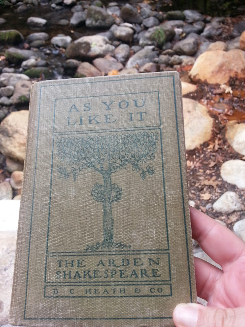 "Old copy of ""As You Like It"", which of course I read Shakespeare while in the park! :)"