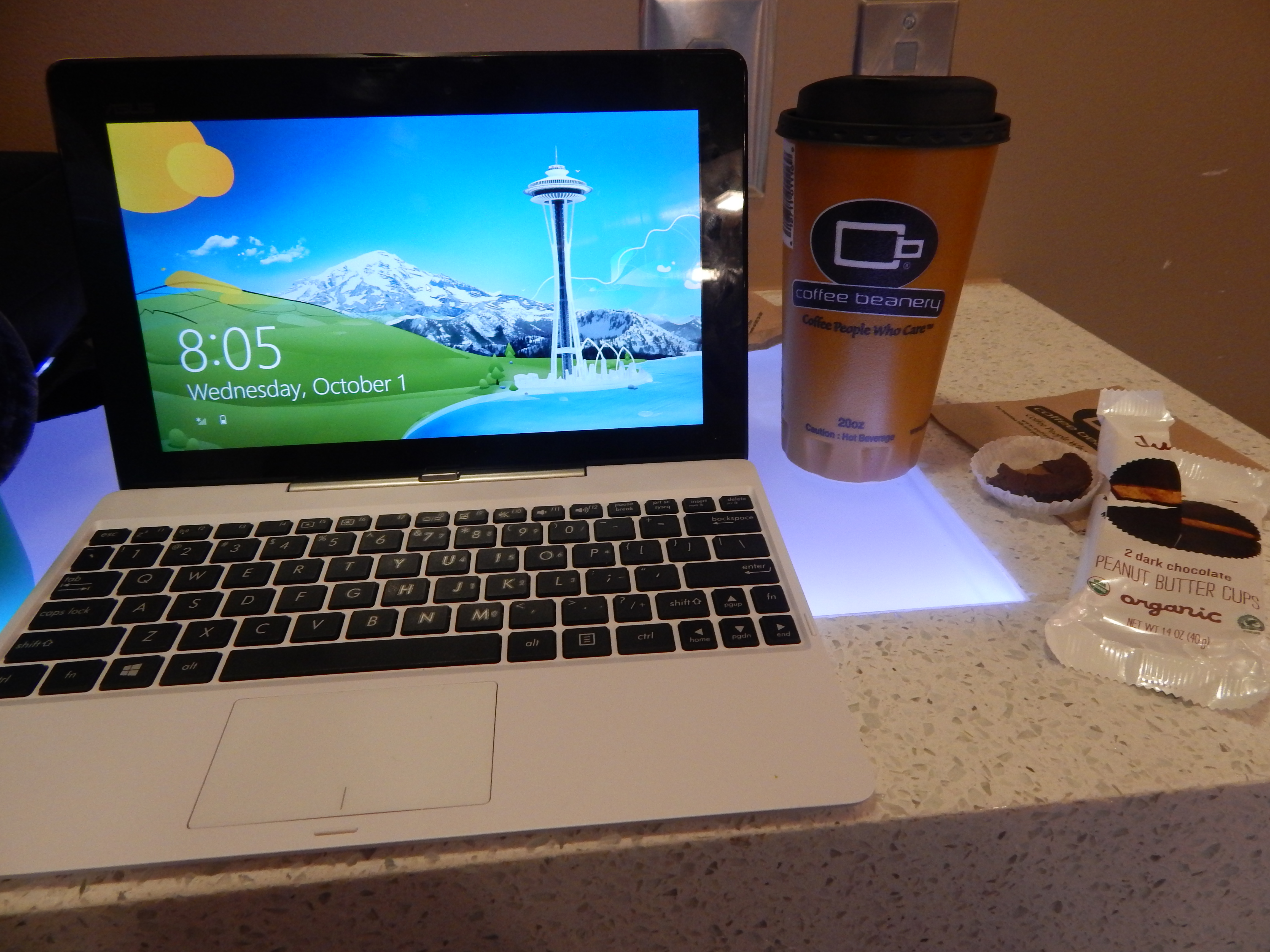 My work space at the Coffee Beanery in the Atlanta airport.