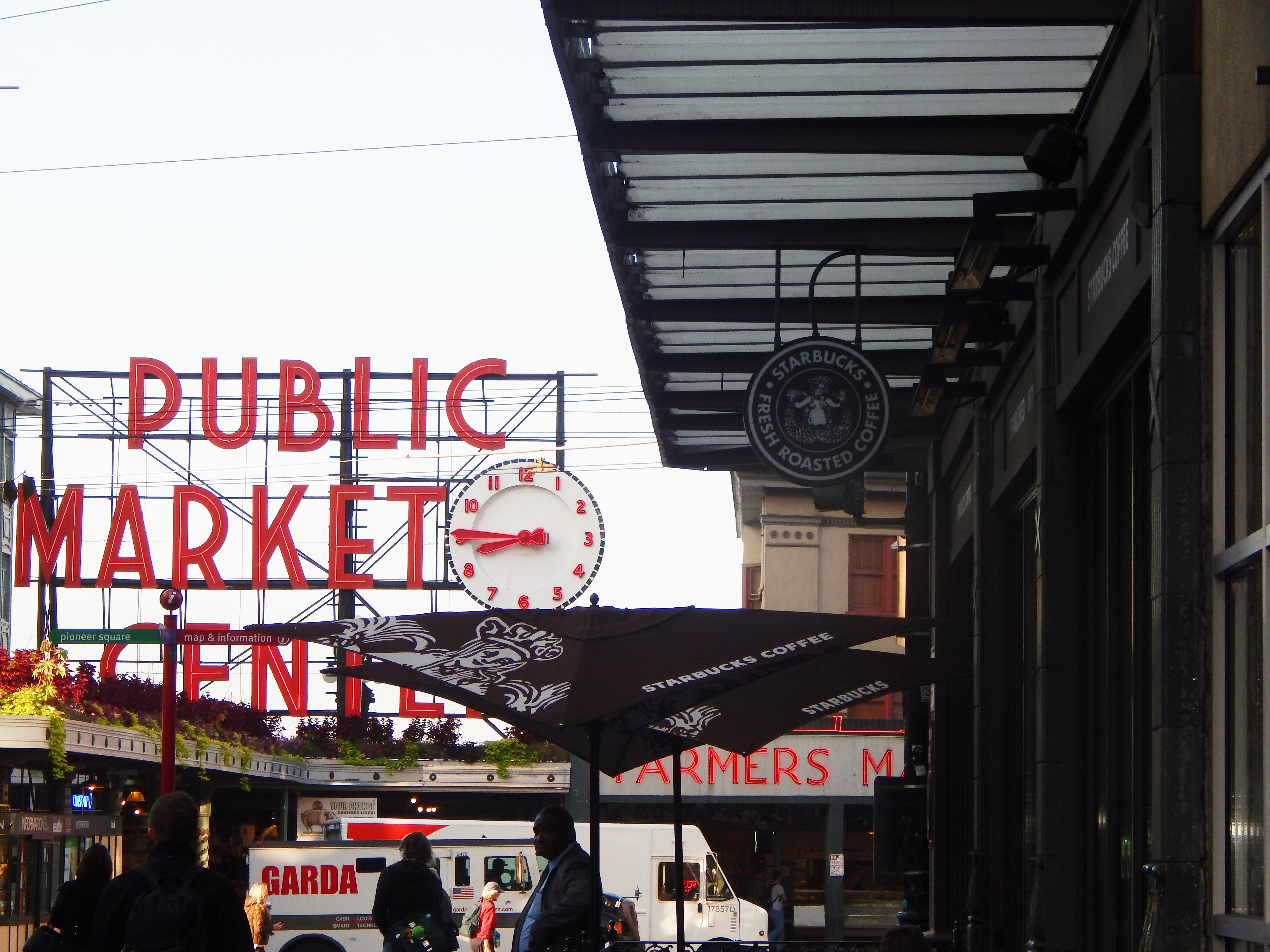 Pike Place Public Market and first Starbucks ever.