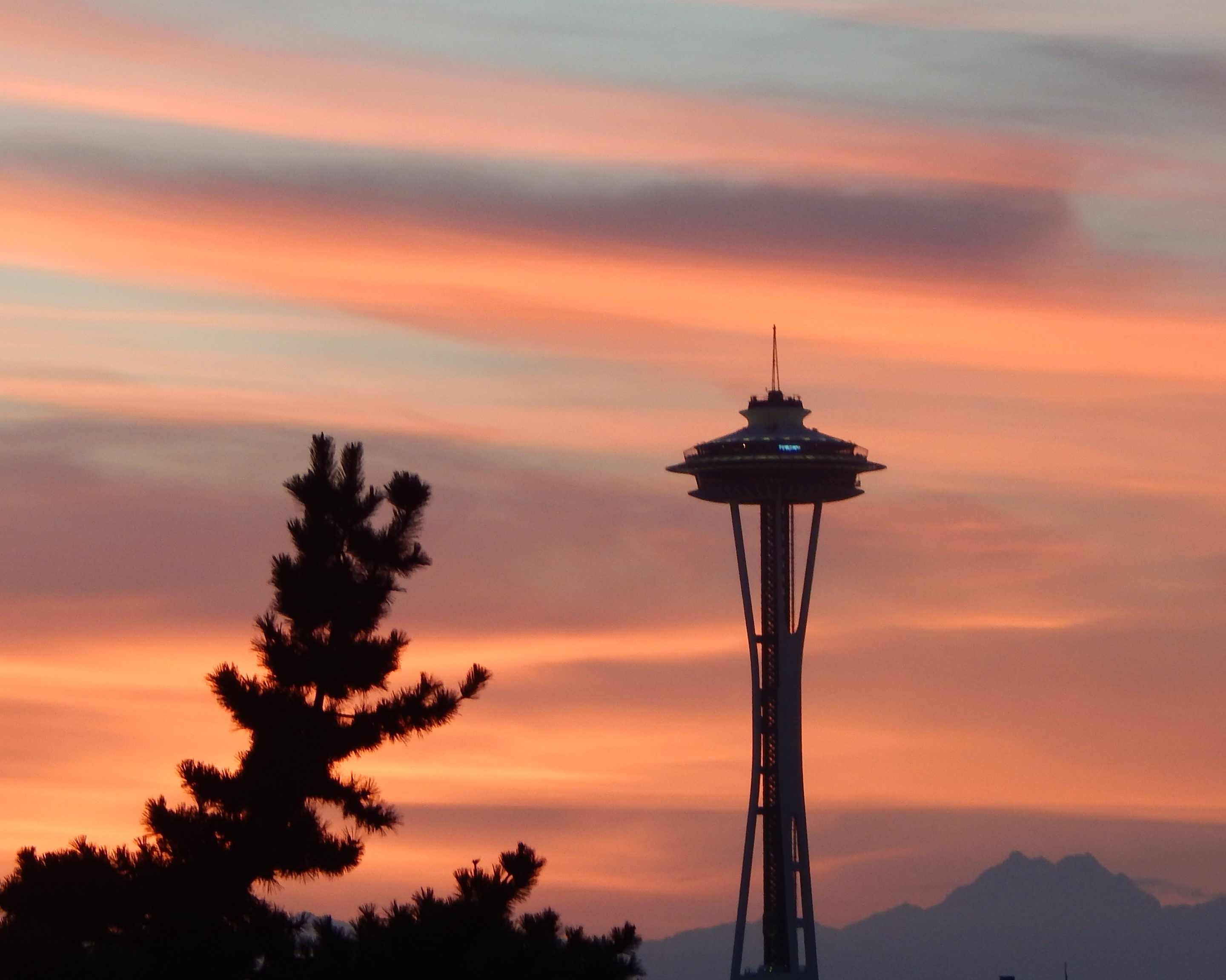 Space Needle at sunset.