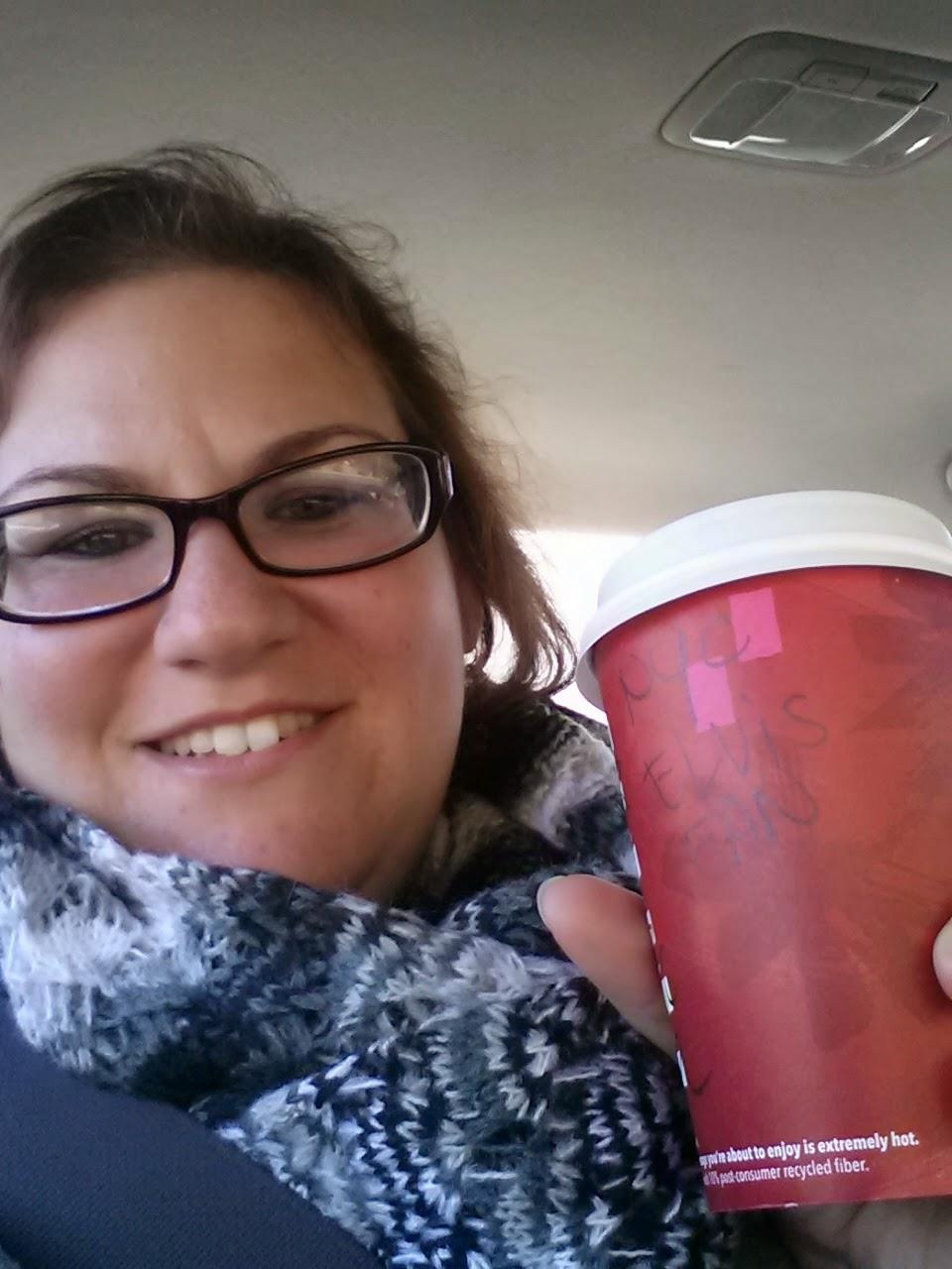 "Starbucks wrote ""NYC Elvis Fan"" on my cup."