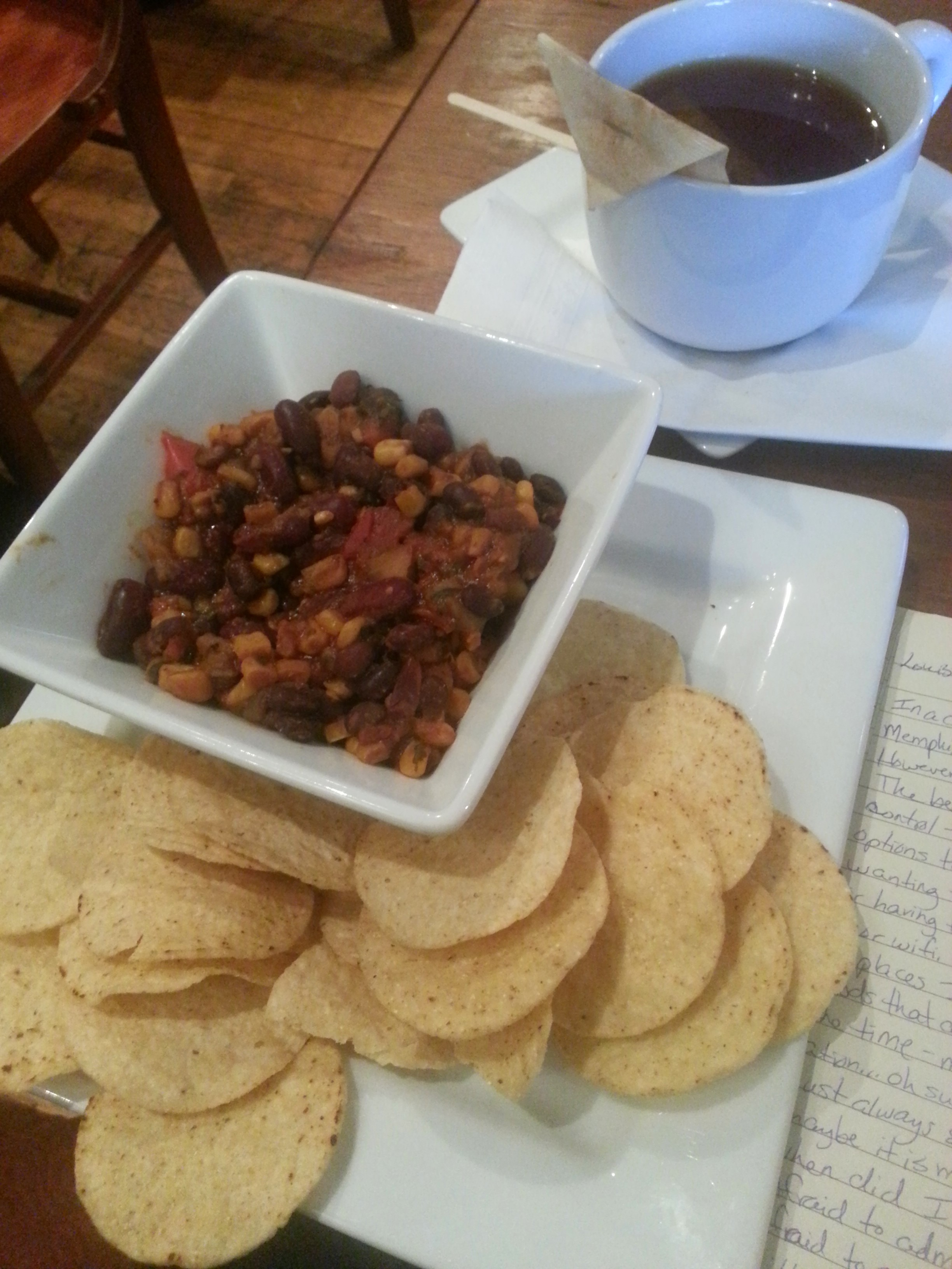 Vegan Chili and chips at Frothy Monkey in downtown Franklin, TN.