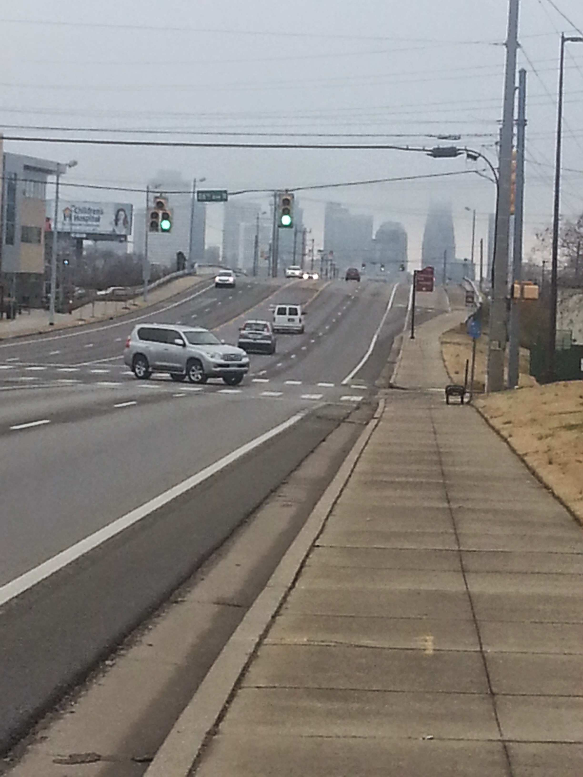Foggy Nashville skyline on one of my long walks across town.