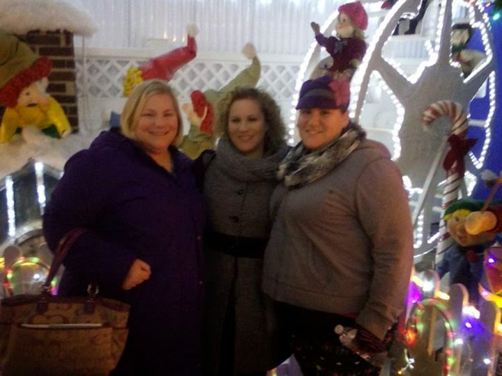 My sisters Cindy, Suzie and me seeing the Christmas lights.